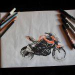 Rough - moto - Kawasaki - feutre à alcool - dessin industriel