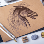 dessin - animal - crayons - cheval - illustration