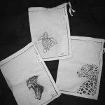 Dessin - animaux - sac - noir & blanc